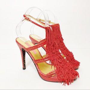 Betsy Johnson Fringe Red Snake heel Sandal
